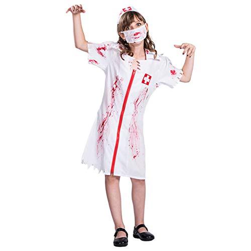 Kostüm Gespenstische - Bearbelly Blutiges Zombie Krankenschwester Kostüm für Damen mit Mundschutz und Schwestern Haube Gespenstische Krankenschwester Geister Damen Blutiges Halloween Geist Gespenst Horror Kostüm