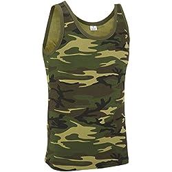 Camiseta sin mangas estilo militar de camuflaje. Woodland. Bosque (S)