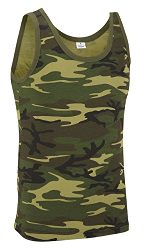 Camuflaje Militar Top Chaleco - Camuflaje Bosque - algodón, Camuflage, 100% algodón, Hombre, Extra Grande