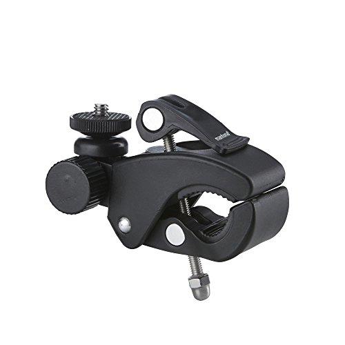 Mantona 21284 Klemmhalterung XL (für GoPro Hero 6 5 4 3+ 3 2 1, Session und andere kompatible Action Cams, sehr stabile Klemme für Rohre und Stativbeine, mit 1/4 Zoll Anschluss) schwarz/silber -