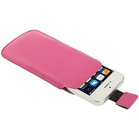 Wkae Case & Cover Caso Pocket Pouch Bag in pelle manica con Pull Up Tab per iPhone 5 e 5s e SE e SE &5C ( Color : Magenta )
