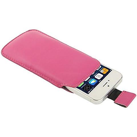 Wkae Case & Cover Caso Pocket Pouch Bag in pelle manica con Pull Up Tab per iPhone 5 e 5s e SE e SE &5C ( Color : Magenta )
