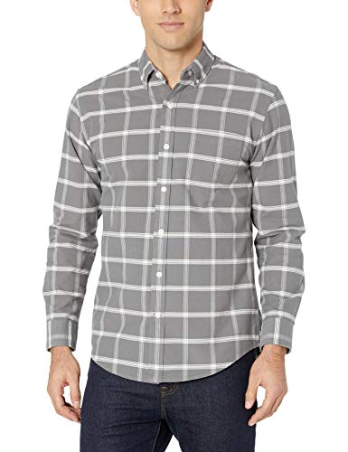 Amazon Essentials Regular-fit Long-Sleeve Windowpane Pocket Casual Shirt