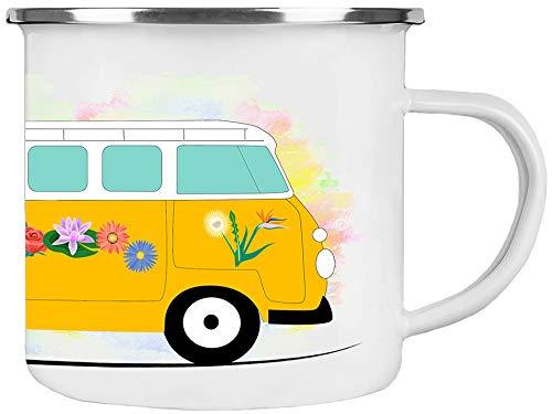 Cadouri Camping Emaille Tasse » Reisen ist die Sehnsucht « Kaffeetasse Campingbecher Outdoortasse - 300 ml