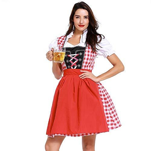 Bierfest Gitter Kleid Anzug Oktoberfest Kostüm für Damen Bayerisches Biermädchen Traditionelles Minikleid karnevalskostüme Vintage Elegant Deutsch Maid Kostüm ZHANSANFM (L, rot) (Für Neue 2019 Damen Halloween-kostüme)