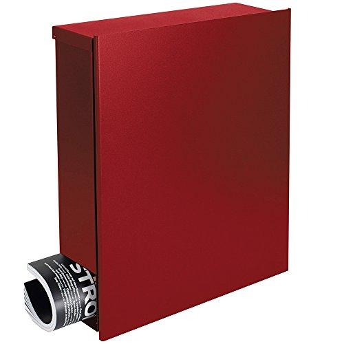 Design-Briefkasten mit Zeitungsfach 12 Liter rubin-rot (RAL 3003) Mocavi Box 111 Postkasten Zeitungsrolle Wandbriefkasten