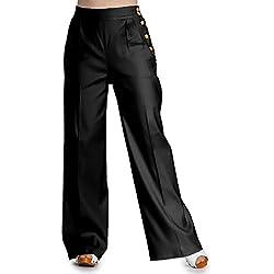 Hell Bunny Honey Bear Pantalones Cintura Alta de 1940 - Negro (XS - 36)