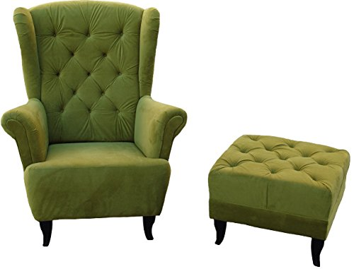 Ohrensessel Grün Olivgrün LUDWIG Loungesessel Chesterfield - 4