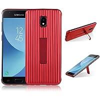 para Samsung Galaxy J7 2017 Case, HengJun TPU + PC Draw Bar Horizontal Vertical Diseño Creativo 2 en 1 Soporte Soporte sísmico Anti-Shock Doble Funda Protectora para Samsung Galaxy J7 2017 - Rojo