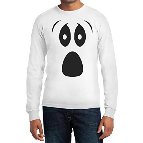 Grusel Kostüm Halloween Kostüme Langarm Shirt mit Ghost Face Langarm T-Shirt Medium Weiß