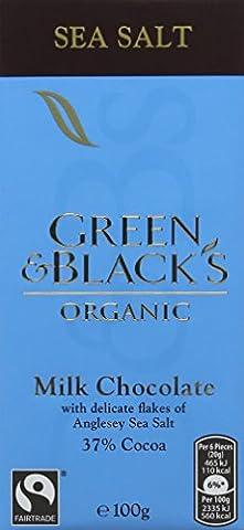 Green & Black's Sea Salt Milk Chocolate Chocolate Bar 100 g (Pack of 5) (Organic)