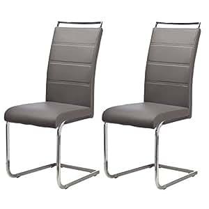 DYLAN lot de 2 chaises de salle a manger, coloris Gris