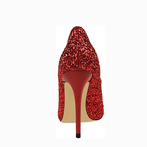 L'Europe et les chaussures de vent États-Unis fines avec la bouche à talon haut pointu talons hauts sequins red