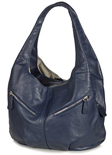 Taschenloft Damen Hobo Handtasche Leder | geräumige Beuteltasche mit 3 Fächern | 30x25x17cm Jeans Blau
