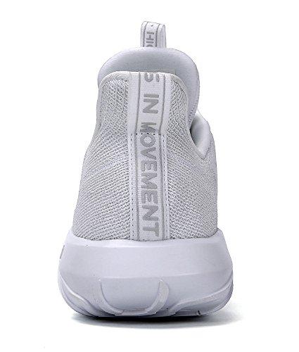Soulsfeng Sportschuhe Herren Damen Uniex Freizeit Turnschuhe Schnürschuhe Mesh Laufschuhe Sneaker Leichtgewicht Bequeme Schuhe Weiß