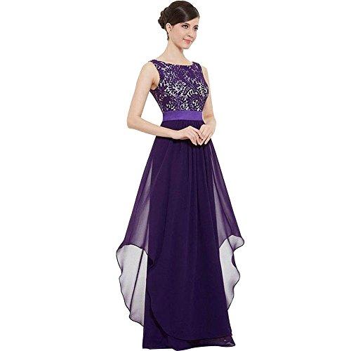 Damen Lang Kleider Elegant Frauen Spitzen Abendkleid Ärmellos Rundhals Brautjungferkleid...