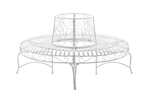 CLP 360° Metall Baum-Bank KAYDEN, Landhaus-Stil, rund Ø ca. 50 cm / 150 cm (innen/außen), Eisen lackiert, bis zu 6 Farben wählbar Weiß - 3