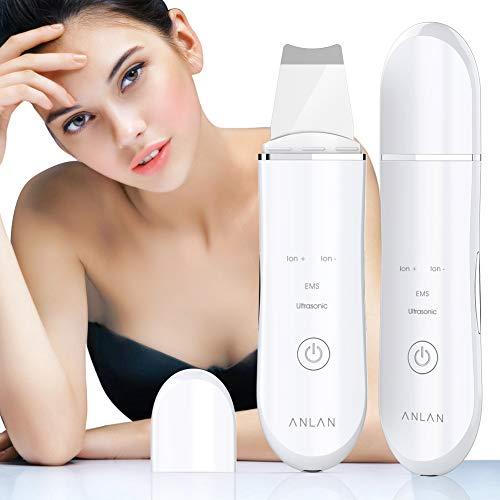 Ultraschallpeelinggerät ANLAN Skin Scrubber, Ultraschall-Peeling Porenreiniger Akne-Entferner Ionen Hautreiniger für Gesichtsreinigung Gesichtspflege (Weiß)