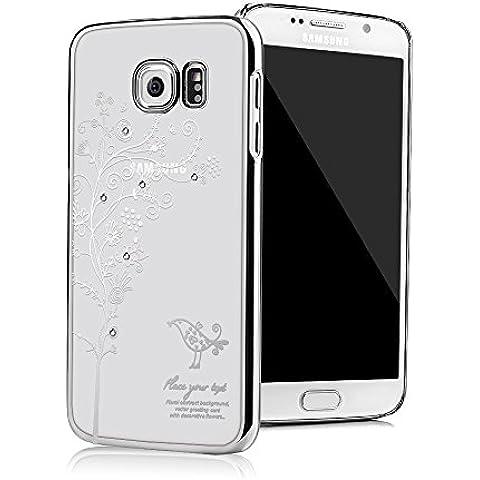 Galaxy S6 Funda Transparente Crystal PC Dura Case - Mavis's Diary® Bling Diamantes Estuche Rígido Carcasa para Samsung Galaxy S6 Diseño Flor de Vid (Plata)