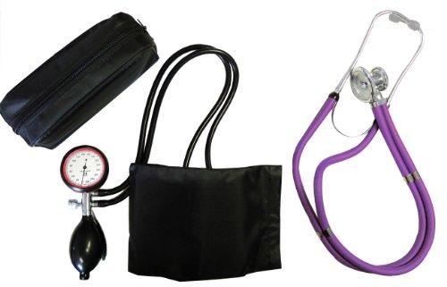 Blutdruckmessgerät 2-Schlauch Oberarm + Rappaport Doppelschlauch Stethoskop violett Doppelkopf Tiga-Med Qualität