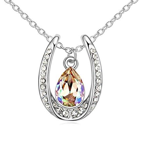 Daesar Schmuck Damenkette Vergoldet Träne Halskette Zirkonia Strass Anhänger Halskette für Frauen