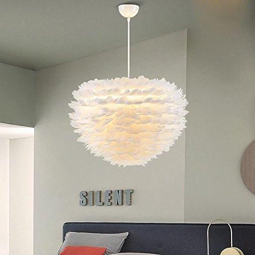 (YLXB Weiße Feder Kronleuchter Nordic Modernen Minimalistischen Wohnzimmer Schlafzimmer Warme Kreative Persönlichkeit Kinderzimmer Kunst Lampe,A,60cm)