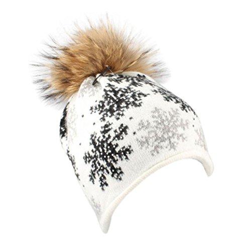Damen Mütze mit Bommel,TUDUZ Frauen Winter Warme Schneeflocke Pelz Wollstrickmütze Beanie Pompon l SKI Kappe (Weiß)