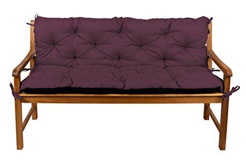 Bankauflage Bankkissen Sitzkissen + Rückenlehne für Hollywoodschaukel Gartenpolster (150x50x50, 15 Violett)