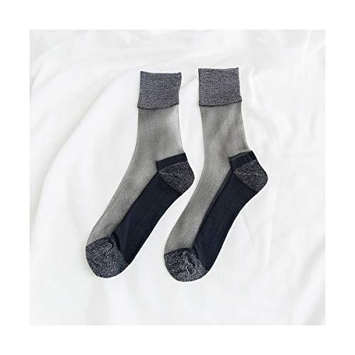 Seide Haufen (SIKESONG Transparente Helle Zwiebel Alleinige Baumwolle Hit Farbe Glas Seide Cool Haufen Socken In Der Tube Weiblichen Socken (3 Paar) 2)