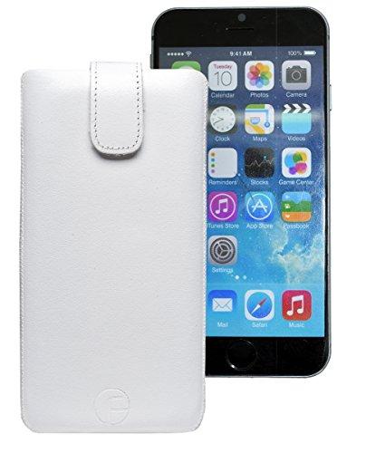 Original Favory Etui Tasche für iPhone 8 PLUS | iPhone 7 PLUS | iPhone 6s PLUS (5.5 Zoll) | Leder Etui Handytasche Ledertasche Schutzhülle Case Hülle *Lasche mit Rückzugfunktion* (UVP 12.90€) In rot Weiss