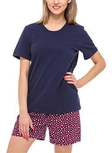 Merry Style Damen Schlafanzug MS10-177(Marineblau/Weinrot/Sterne, 36 (Herstellergröße: S)) (Sterne Pyjama Frauen)