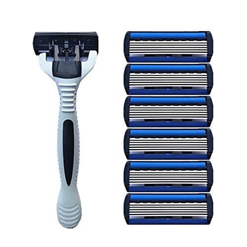 1 + 4 combo sécurité hommes classique traditionnel 6 couches rasage lame de cheveux rasoir manuel lame en acier inoxydable rasage cheveux lame - argent et bleu