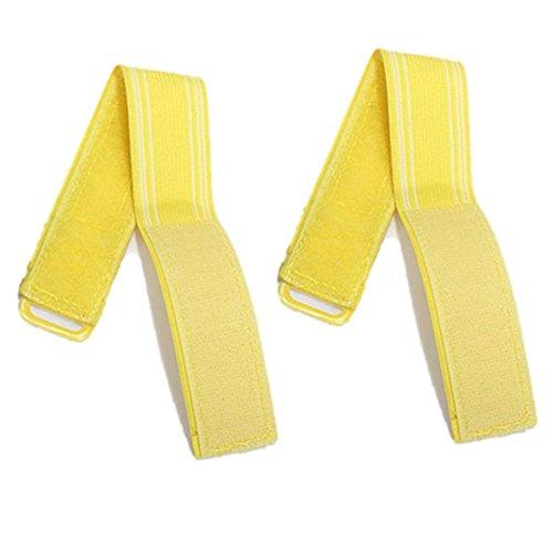 SODIAL(R) 2 x Banda Reflectante Hi Viz Clip de Pantalones Correa de Atar Tobillo para Bicicleta - Amarillo