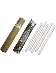 Cyalume Tube de 5 Bâtons Lumineux SnapLight Non-IMPACT 40cm Blanc 1 Anneau 8 Heures 15'' Emballés Individuellement