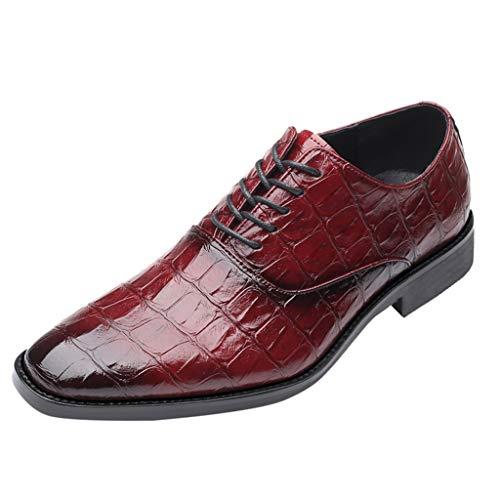 Dhyuen Herren Fashion Business Schuhe Wies Schnürschuhe Farblich Passende Lederschuhe Schuhe (Kinder Sparkly Schuhe Red)