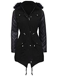 NEW Womens LADIES PARKA JACKET Quilted PU Sleeves WINTER COAT Size 8-16