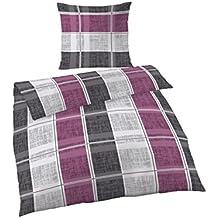 2piezas ropa de cama 155x 220cm lila gris franela algodón Escobillero