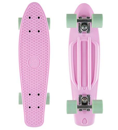 BIKESTAR Original Vintage Retro Cruiser Skateboard für Kinder und Erwachsene auch Anfänger ab ca. 6 - 8 Jahre | 60mm Kinderskateboard Retroboard | Flamingo Pink & Pepper Mint -