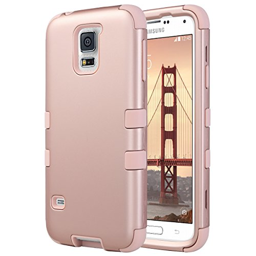 S5 Coque, ULAK Galaxy S5 Coque Housse Étui de Protection Anti-choc Matériaux Hybrides en Silicone Souple et PC Coque pour Samsung Galaxy S5 (Or Rose)