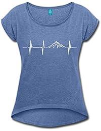 3a7bbf9c9753d4 Spreadshirt Herzschlag Puls Frequenz Berge EKG Frauen T-Shirt mit Gerollten  Ärmeln