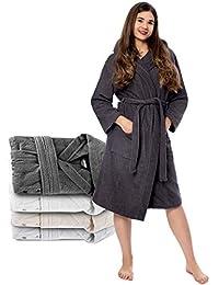 Oeko-TEX Zertifiziert Bademantel für Damen mit Kapuzen - Morgenmantel mit Baumwollfrottee, 2 Taschen, Gürtel - Saunamantel, Weich, Saugfähig und Bequem
