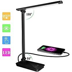 SunTop Lampada da Tavolo LED,Lampada Scrivania 3 livelli Dimmerabili, Regolabile 5 Colori,Touch Control, Luce gradevole per Occhi, Porta di Ricarica USB per Smartphone (Nero)