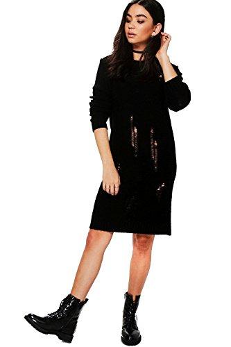 Schwarz Damen Milly Pulloverkleid In Used-optik Schwarz