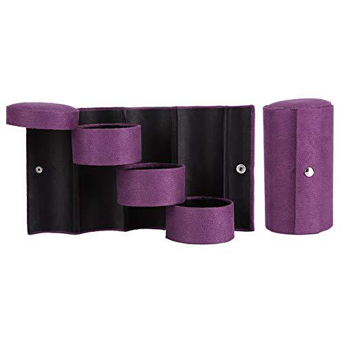 Schmuck Aufbewahrungsbox - MAGT Portable 3 Schichten Zylinderförmige Schmuck Aufbewahrungsbox Organizer Für Mädchen Frauen Geschenk Lila