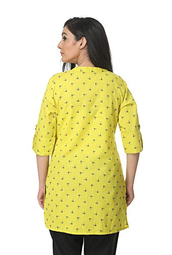 Pistaa's Women's Cotton Printed Flex Short Top Kurti (Lime Green, 42-Large)