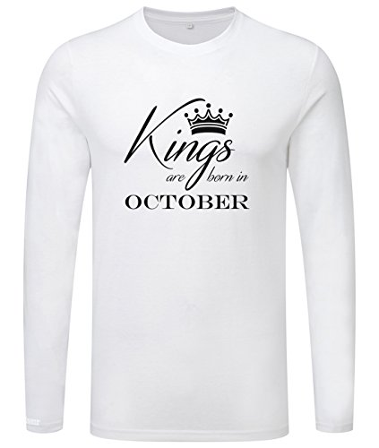 Kings are born in October - Geburtstag - Herren Langarmshirt Weiß