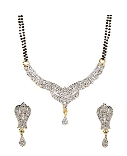 YouBella American Diamond Gold Plated Mangalsutra with Chain and Earrings for Women