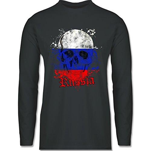 EM 2016 - Frankreich - Russia Schädel Vintage - Longsleeve / langärmeliges T-Shirt für Herren Anthrazit
