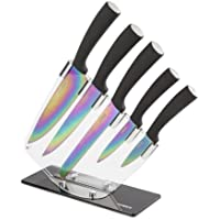 Tower Knife Set with Acrylic Stand, 5-Piece, Black Handles