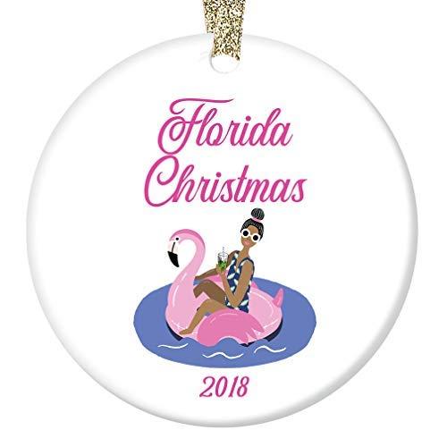 qidushop Florida Weihnachtsbaumschmuck 2018 rosa Flamingo Strand Pool Easy Living Lifestyle Geschenk für Familie & Freunde Weihnachten Hochzeit Andenken Geschenk Dekoration für Weihnachtsbaum